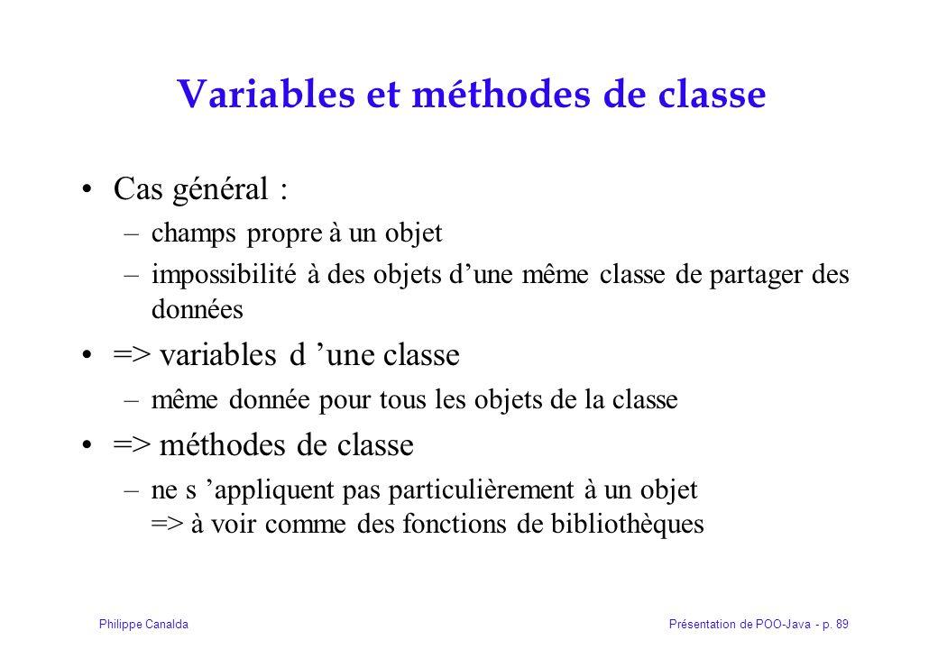 Variables et méthodes de classe