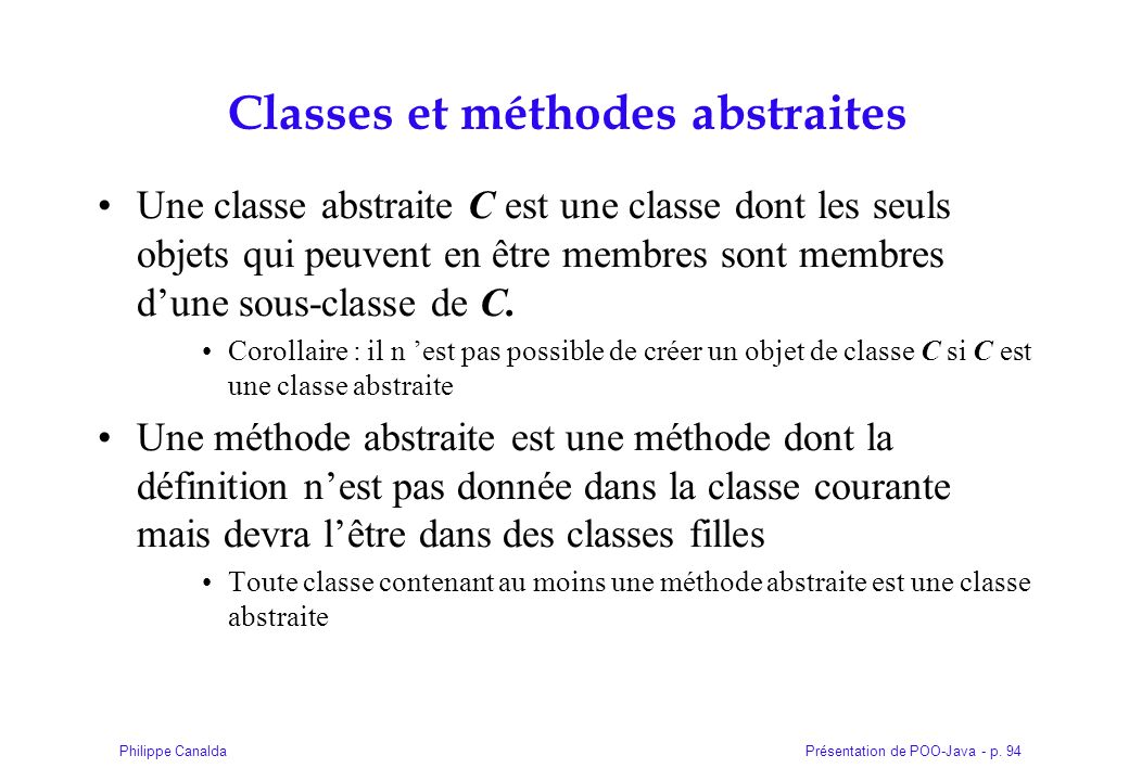 Classes et méthodes abstraites