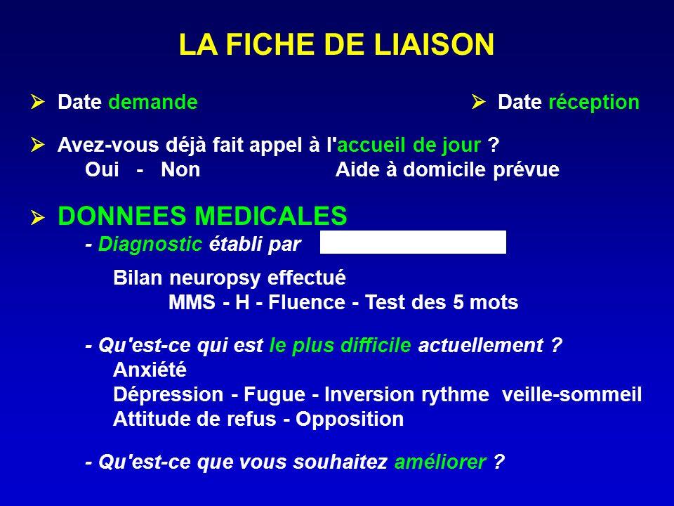 LA FICHE DE LIAISON  Date demande  Date réception
