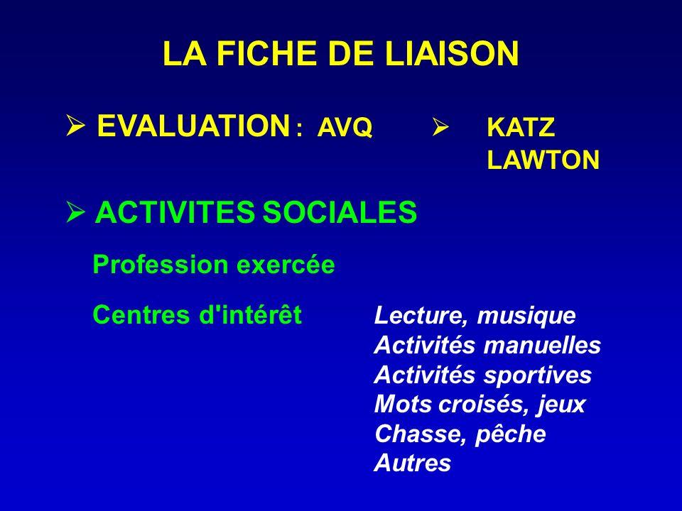 LA FICHE DE LIAISON  EVALUATION : AVQ  KATZ  ACTIVITES SOCIALES