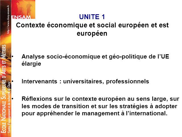 UNITE 1 Contexte économique et social européen et est européen