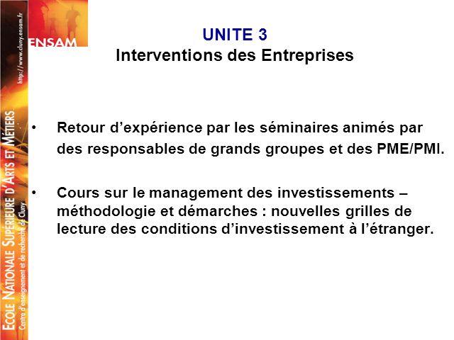 UNITE 3 Interventions des Entreprises