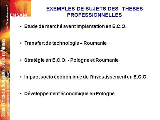 EXEMPLES DE SUJETS DES THESES PROFESSIONNELLES