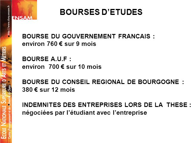 BOURSES D'ETUDES BOURSE DU GOUVERNEMENT FRANCAIS :