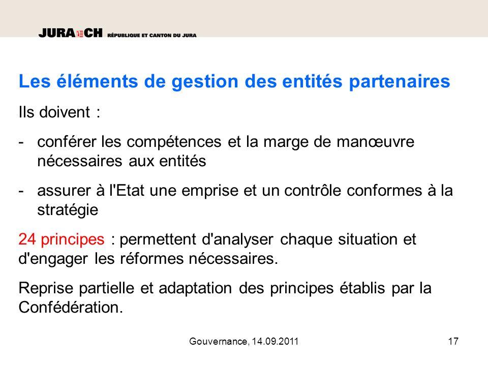 Les éléments de gestion des entités partenaires