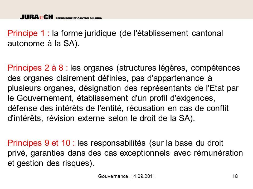Principe 1 : la forme juridique (de l établissement cantonal autonome à la SA).