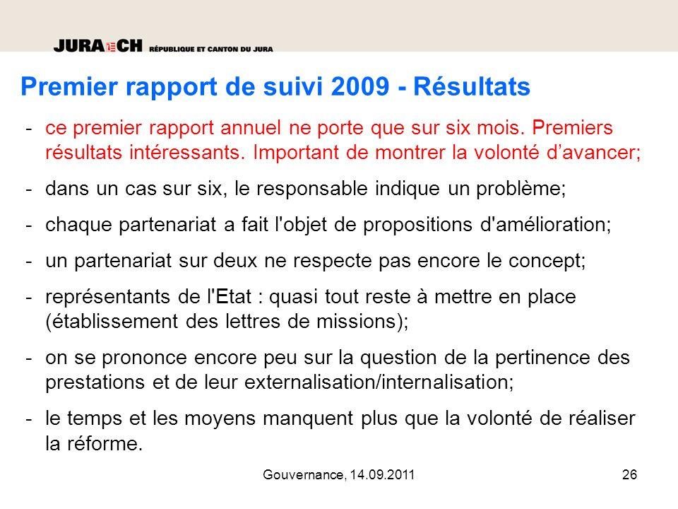 Premier rapport de suivi 2009 - Résultats