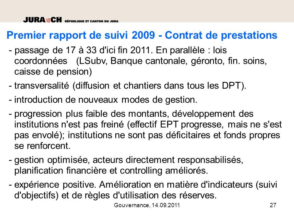 Premier rapport de suivi 2009 - Contrat de prestations