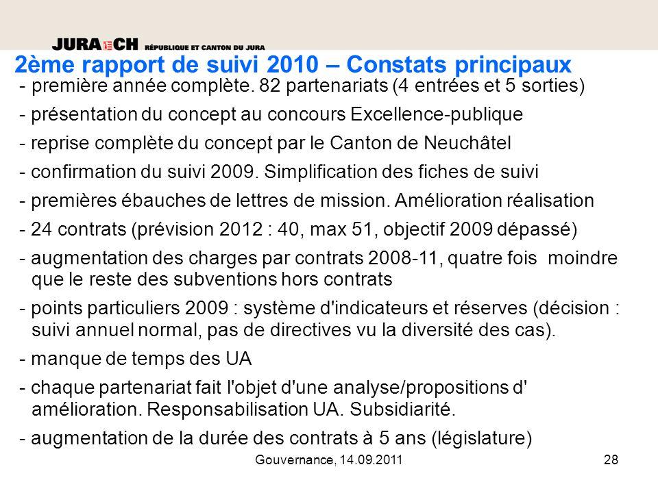 2ème rapport de suivi 2010 – Constats principaux