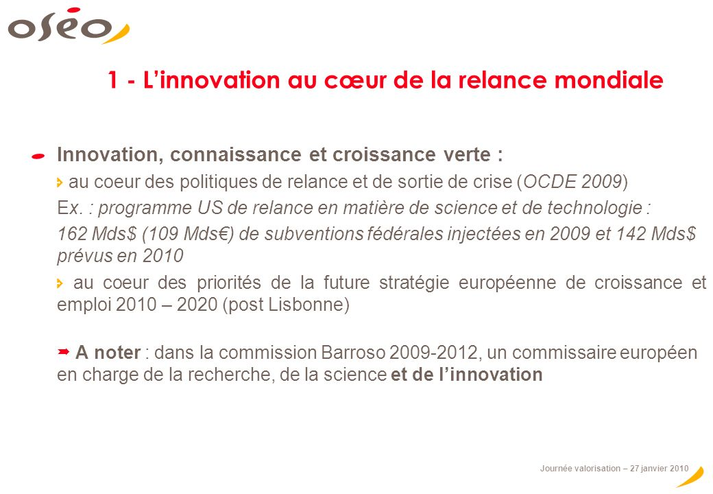 1 - L'innovation au cœur de la relance mondiale