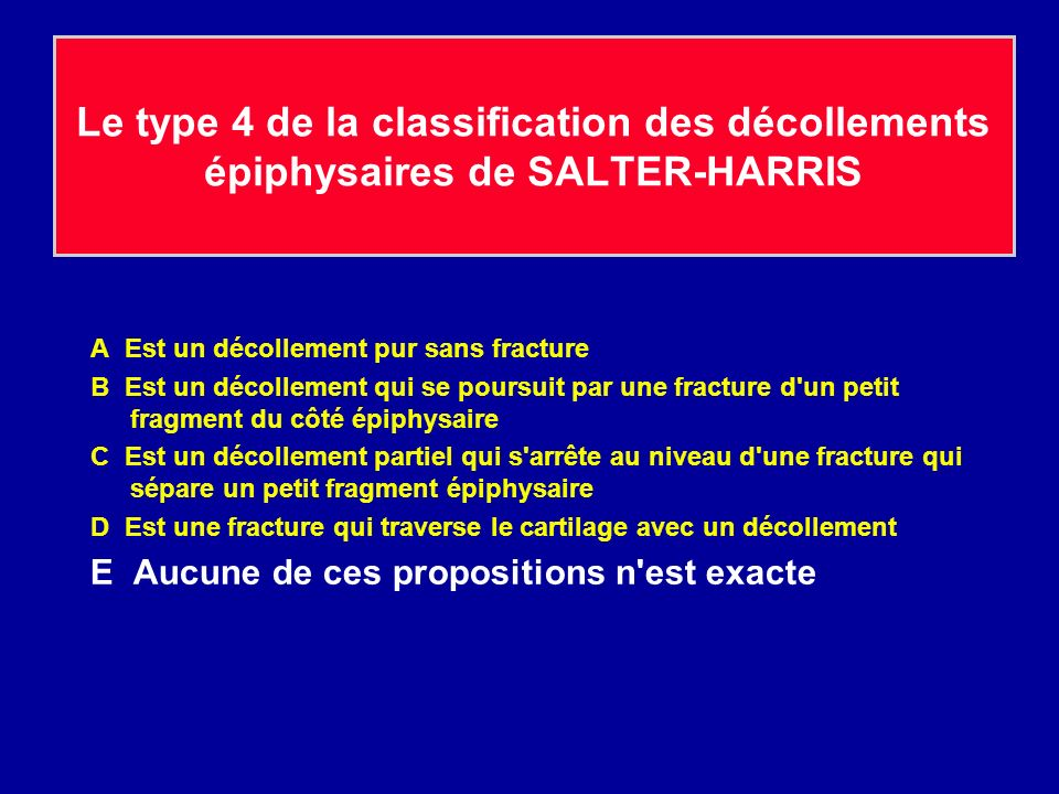 Le type 4 de la classification des décollements épiphysaires de SALTER-HARRIS