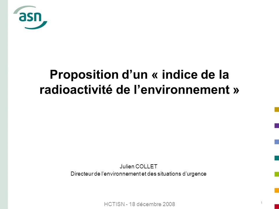 Proposition d'un « indice de la radioactivité de l'environnement »