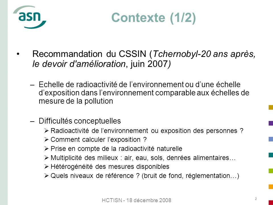 Contexte (1/2) Recommandation du CSSIN (Tchernobyl-20 ans après, le devoir d amélioration, juin 2007)