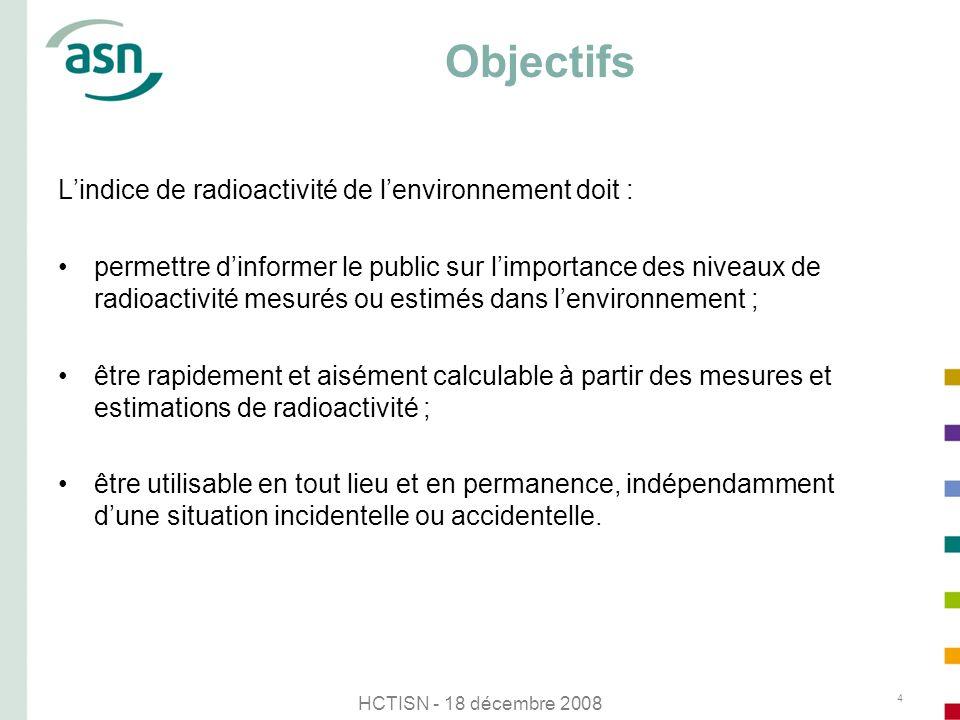 Objectifs L'indice de radioactivité de l'environnement doit :