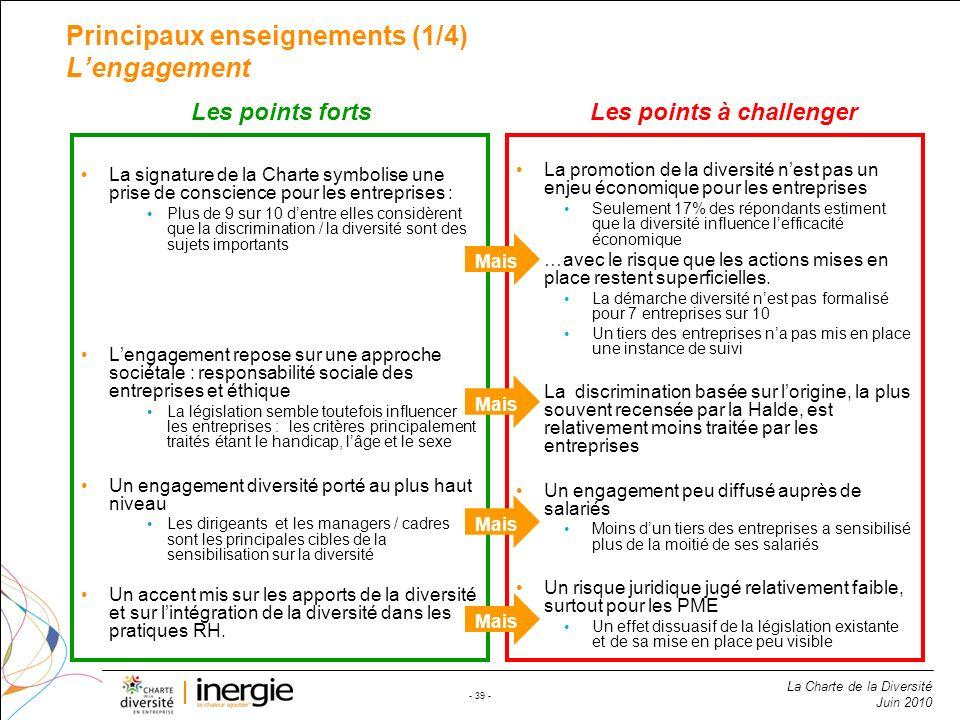 Principaux enseignements (1/4) L'engagement