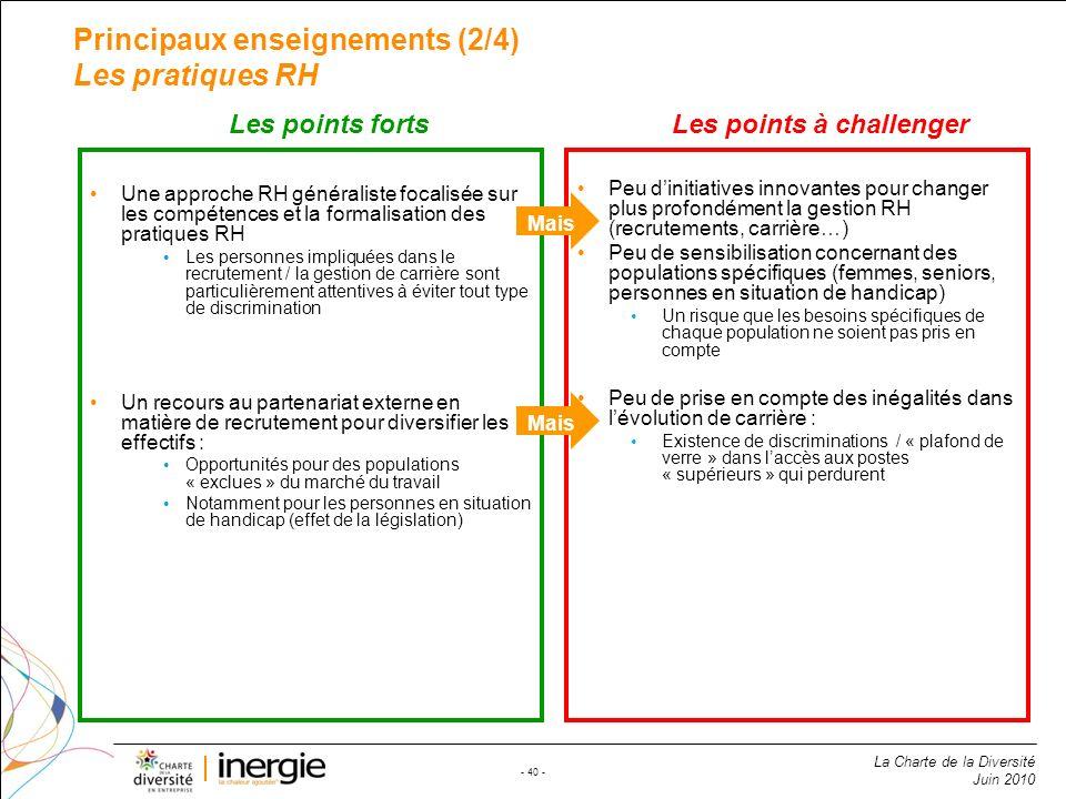 Principaux enseignements (2/4) Les pratiques RH