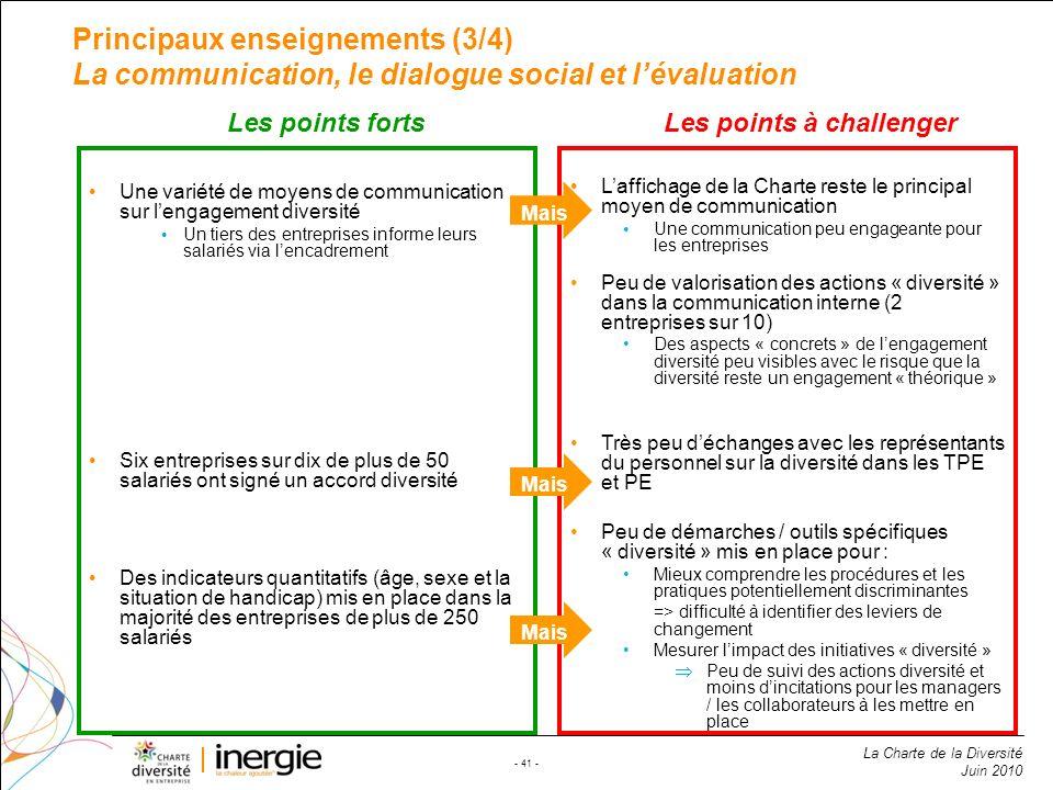 Principaux enseignements (3/4) La communication, le dialogue social et l'évaluation