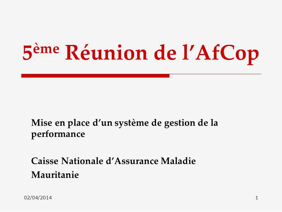 5ème Réunion de l'AfCop Mise en place d'un système de gestion de la performance. Caisse Nationale d'Assurance Maladie.