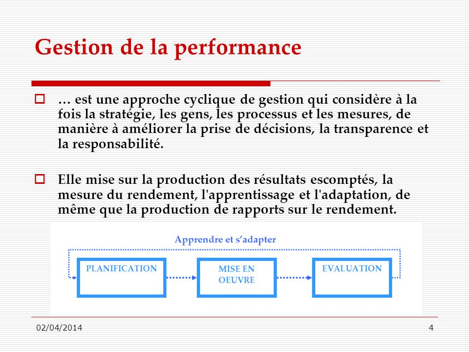 Gestion de la performance