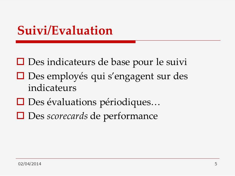 Suivi/Evaluation Des indicateurs de base pour le suivi