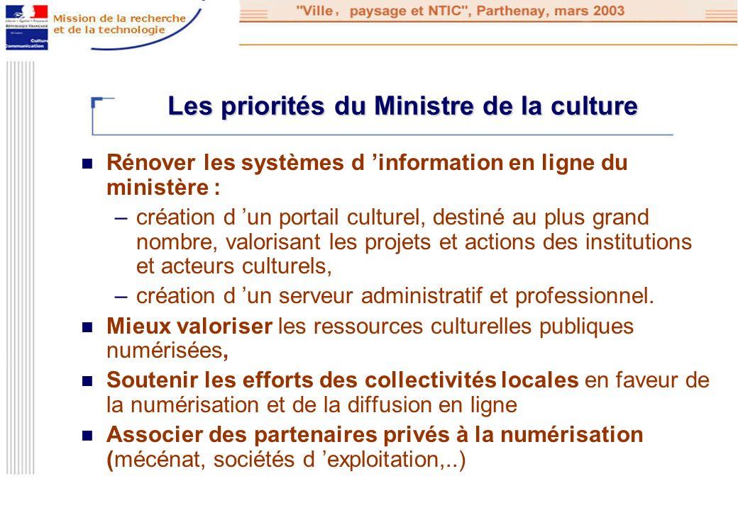 Les priorités du Ministre de la culture