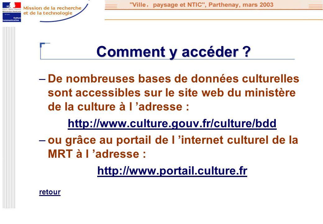 Comment y accéder De nombreuses bases de données culturelles sont accessibles sur le site web du ministère de la culture à l 'adresse :