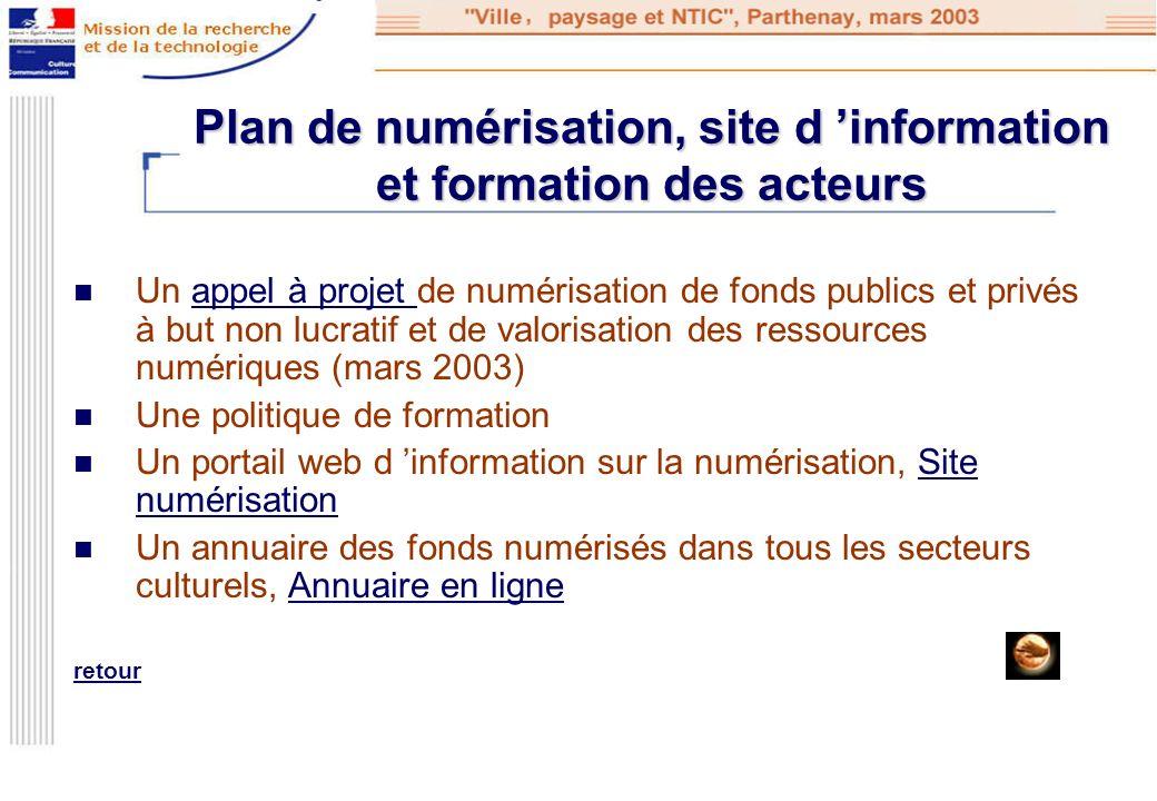 Plan de numérisation, site d 'information et formation des acteurs