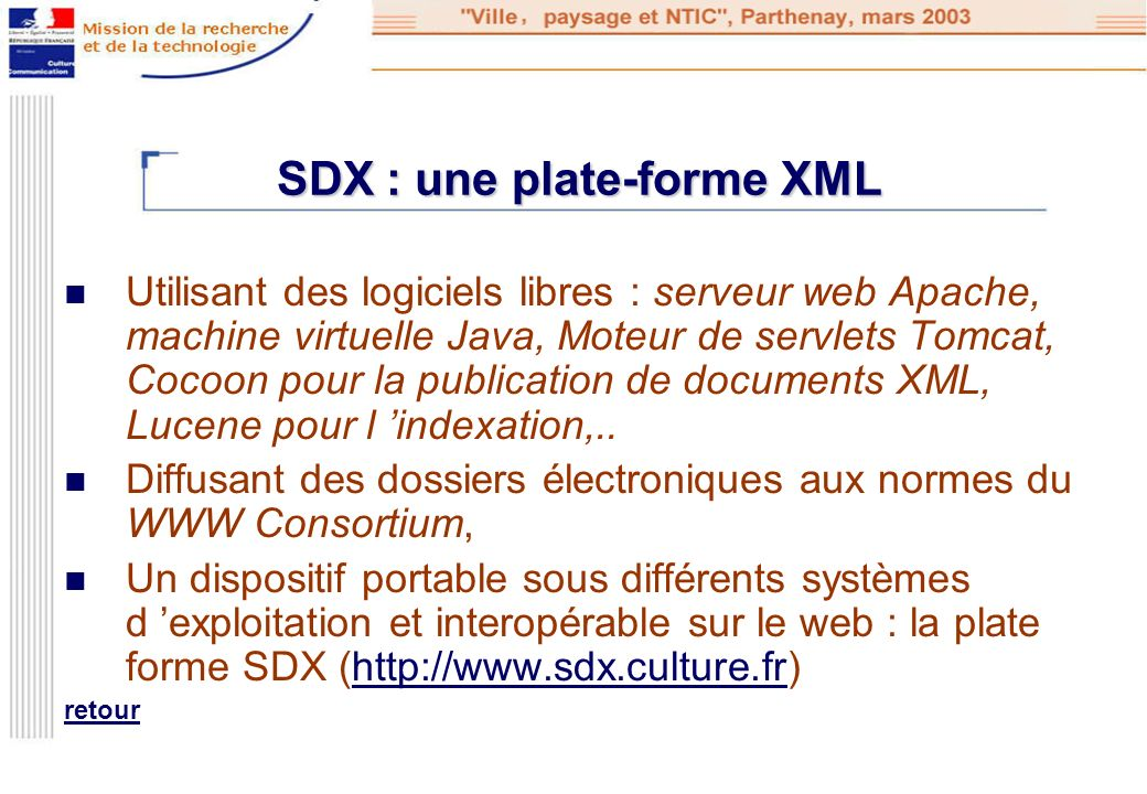 SDX : une plate-forme XML