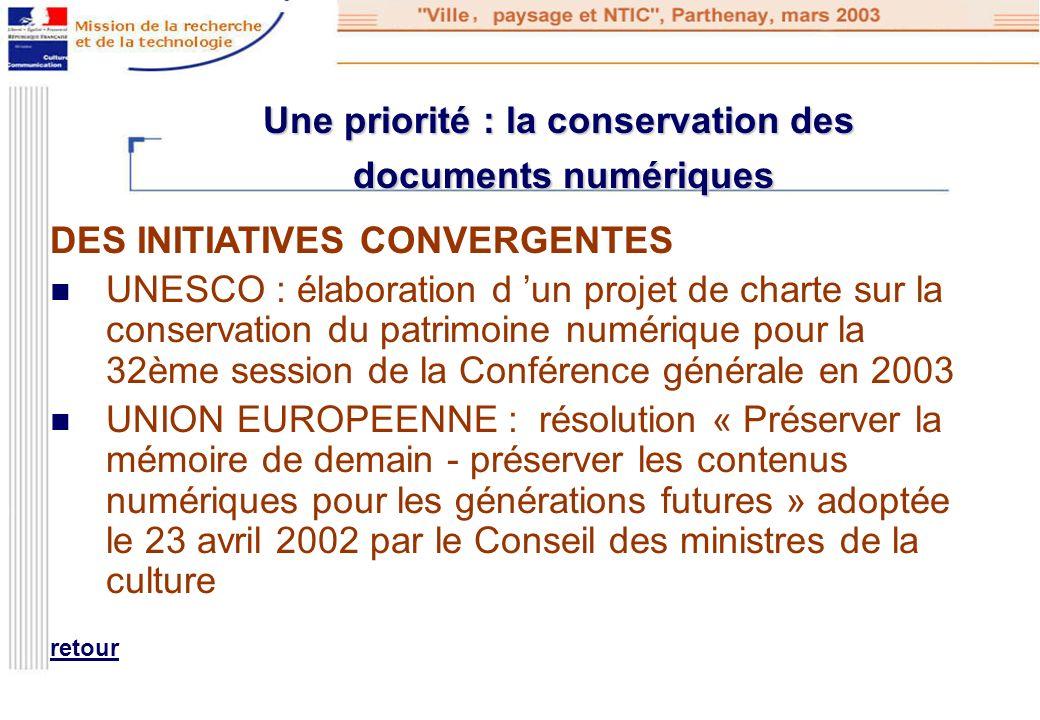 Une priorité : la conservation des documents numériques