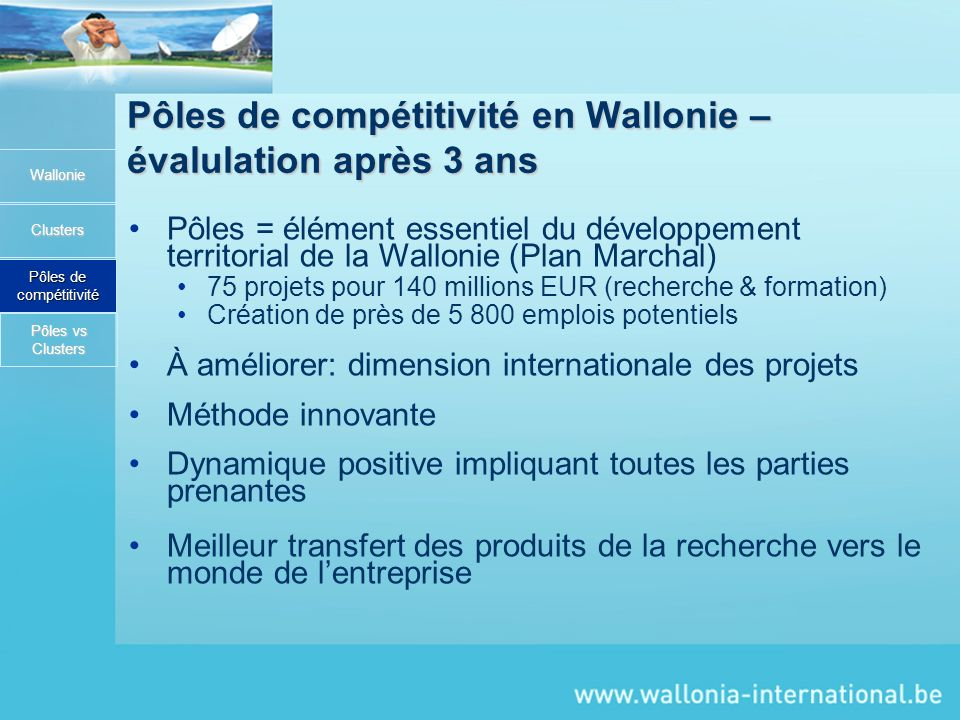 Pôles de compétitivité en Wallonie – évalulation après 3 ans