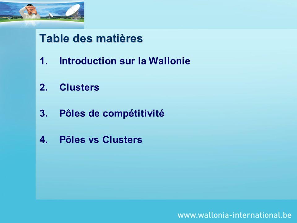 Table des matières Introduction sur la Wallonie Clusters