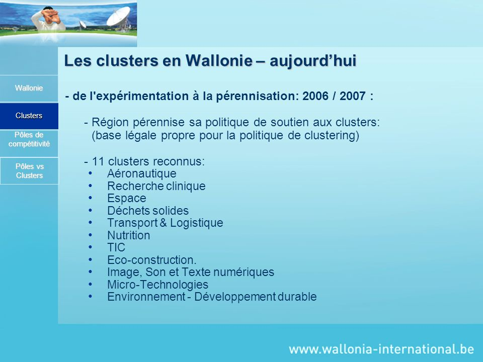 Les clusters en Wallonie – aujourd'hui