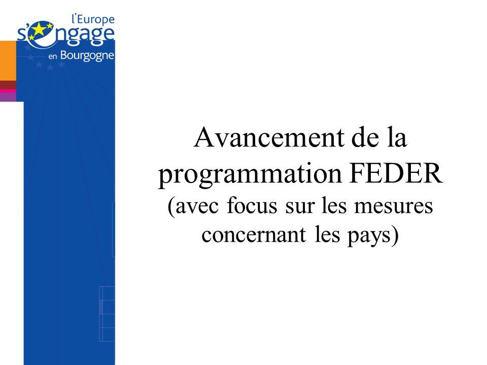 Avancement de la programmation FEDER (avec focus sur les mesures concernant les pays)
