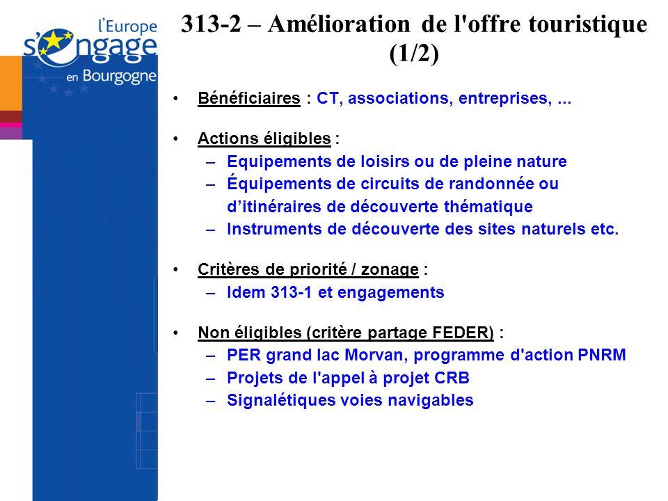 313-2 – Amélioration de l offre touristique (1/2)