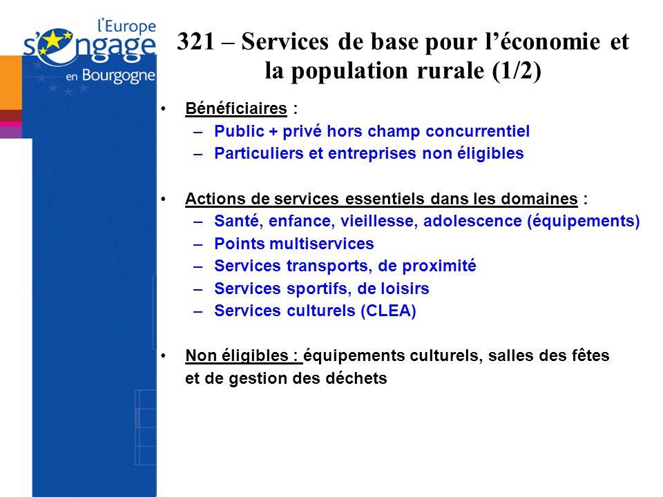 321 – Services de base pour l'économie et la population rurale (1/2)