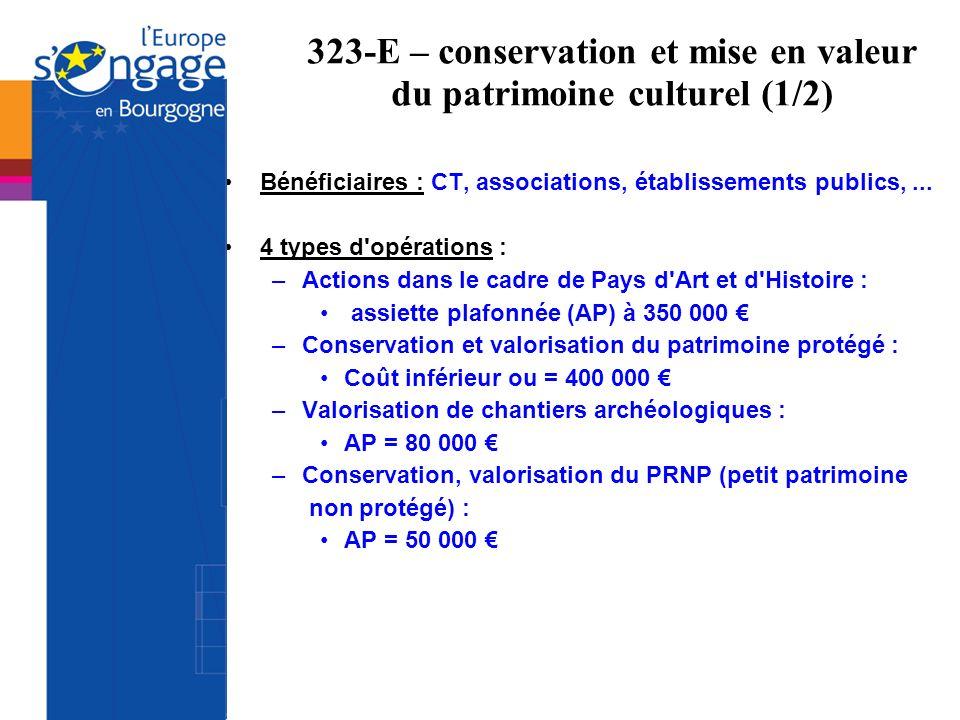 323-E – conservation et mise en valeur du patrimoine culturel (1/2)