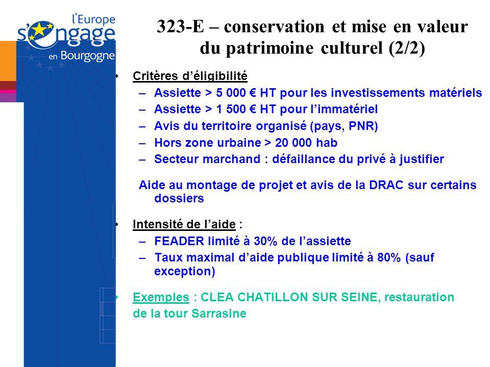 323-E – conservation et mise en valeur du patrimoine culturel (2/2)