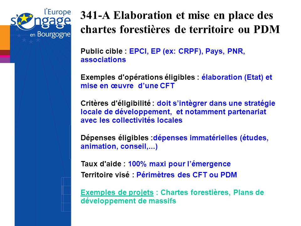 341-A Elaboration et mise en place des chartes forestières de territoire ou PDM
