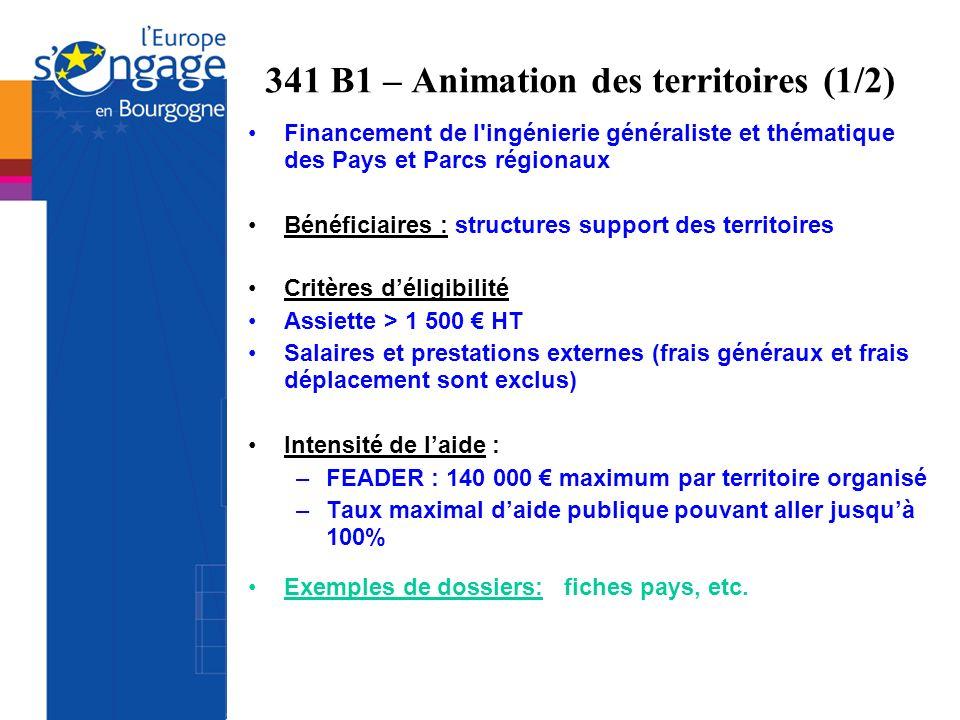 341 B1 – Animation des territoires (1/2)
