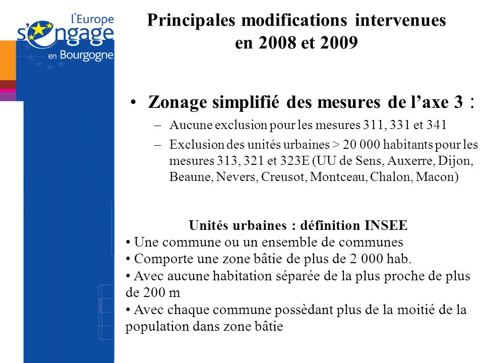 Principales modifications intervenues en 2008 et 2009