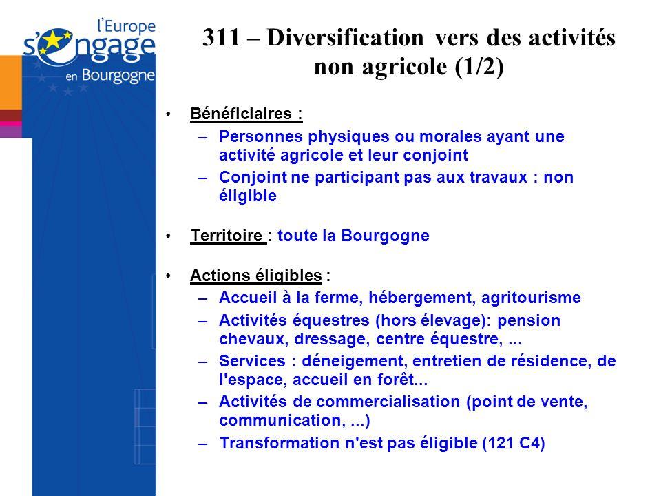 311 – Diversification vers des activités non agricole (1/2)