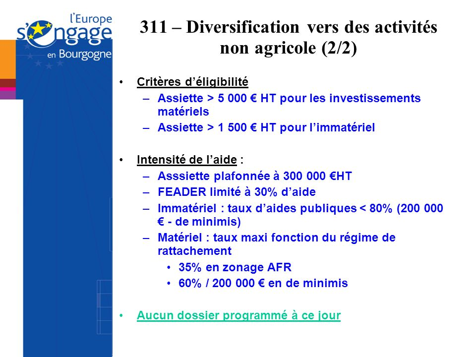 311 – Diversification vers des activités non agricole (2/2)