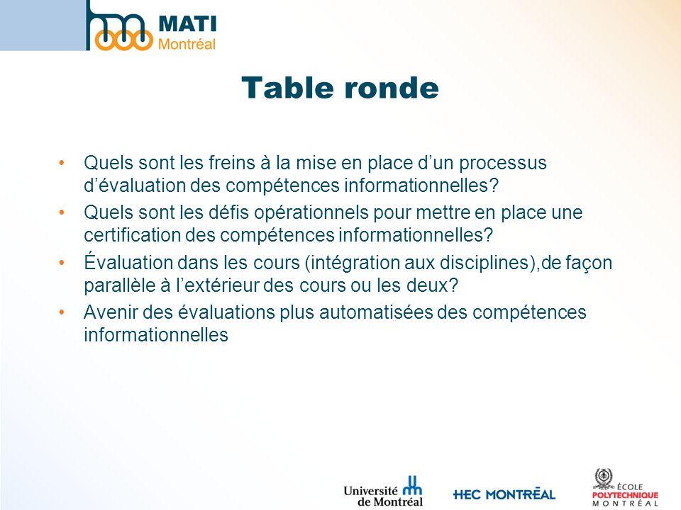 Table ronde Quels sont les freins à la mise en place d'un processus d'évaluation des compétences informationnelles