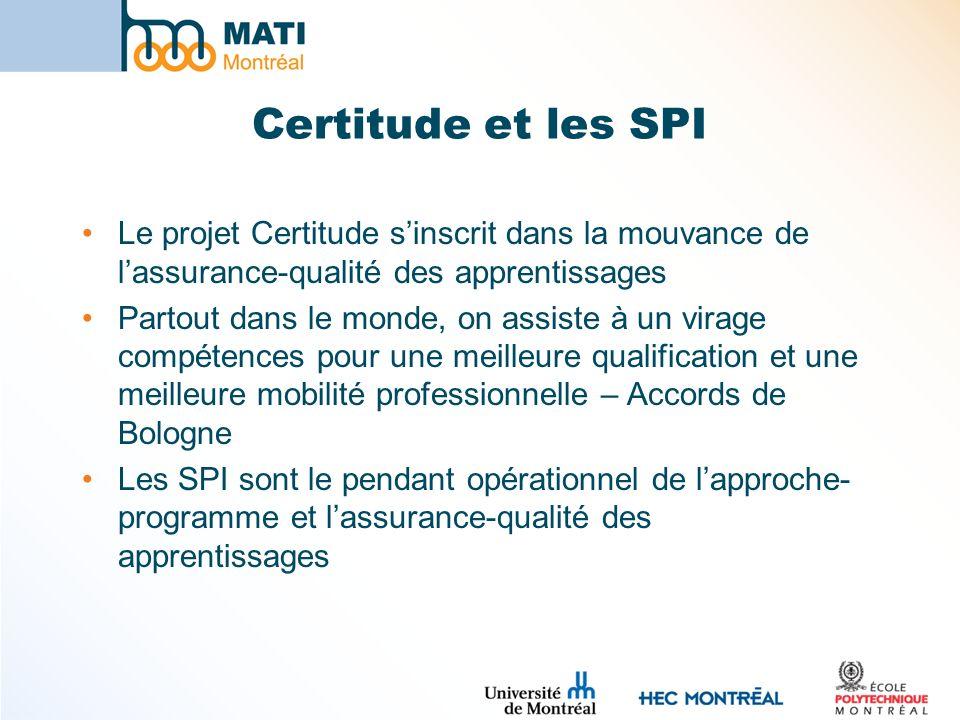 Certitude et les SPI Le projet Certitude s'inscrit dans la mouvance de l'assurance-qualité des apprentissages.