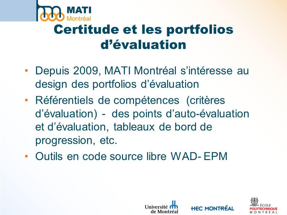 Certitude et les portfolios d'évaluation