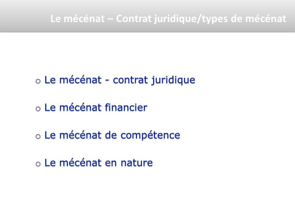 Le mécénat – Contrat juridique/types de mécénat