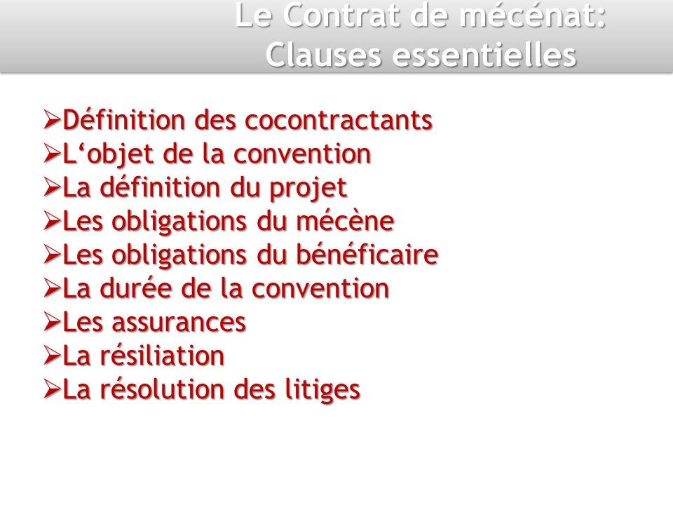 Le Contrat de mécénat: Clauses essentielles