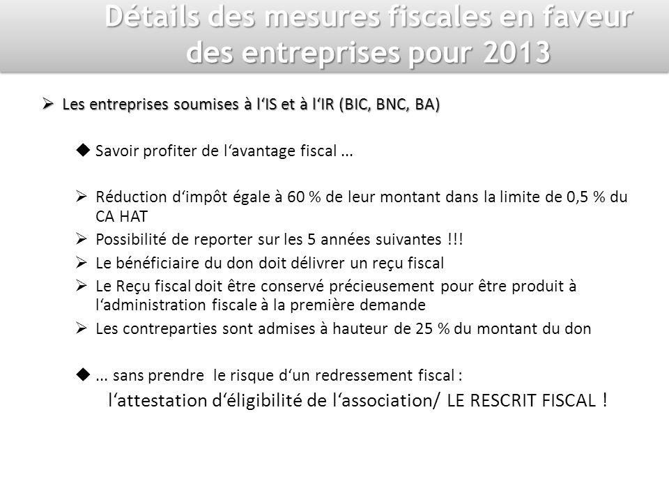Détails des mesures fiscales en faveur des entreprises pour 2013