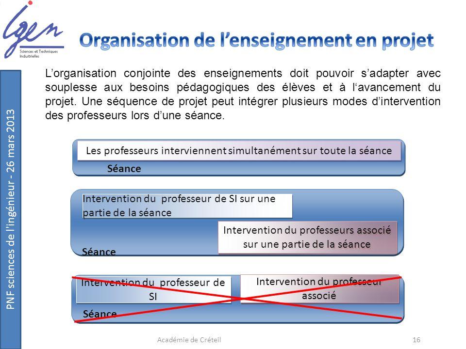 Organisation de l'enseignement en projet
