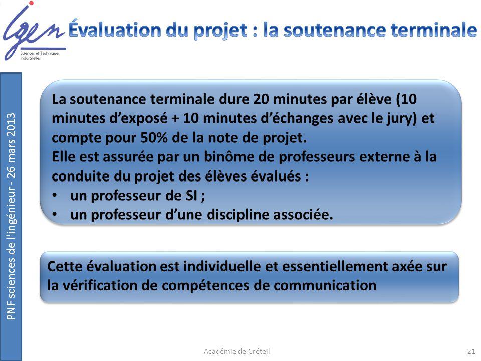 Évaluation du projet : la soutenance terminale